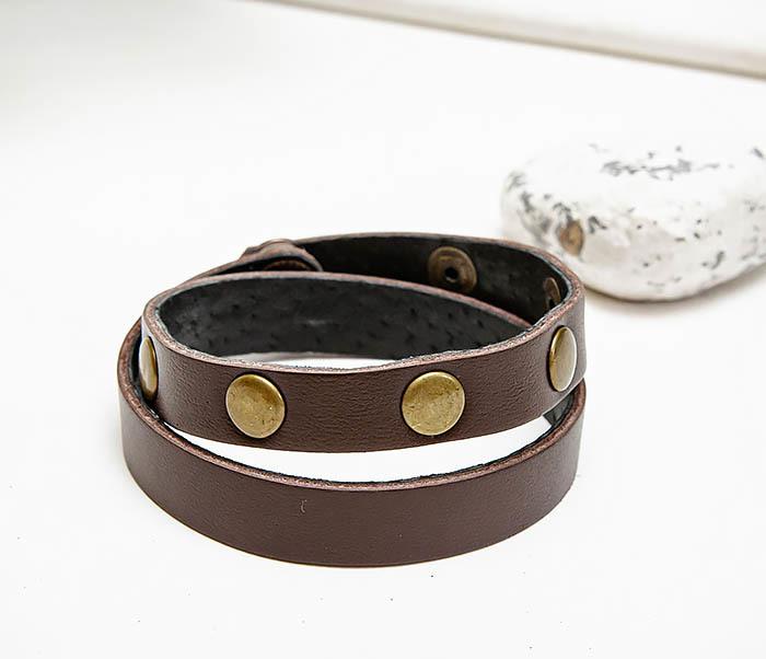 BL803-2 Двойной коричневый браслет из натуральной кожи фото 03