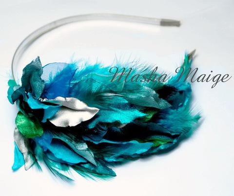 Ободок для волос с филигранью 77х35 мм (цвет - серебро), 4,5 мм (Ободок с перьями. Пример)