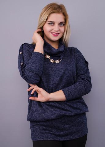 Муза. Кофточка с шарфом для женщин плюс сайз. Синий.