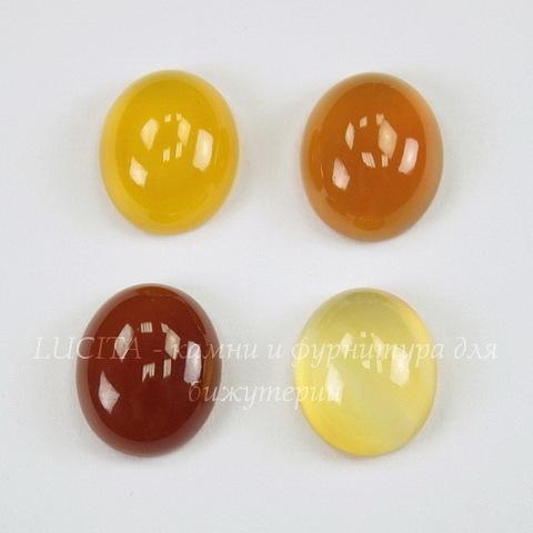 Кабошон овальный Агат желто-коричневый (тониров), 12х10 мм
