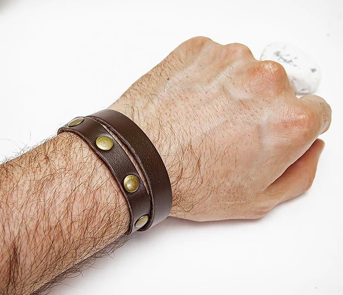 BL803-2 Двойной коричневый браслет из натуральной кожи фото 04
