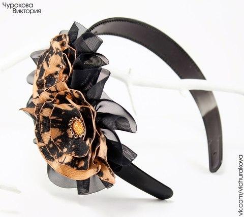 Ободок для волос 25 мм (цвет - черный) (Ободок с цветами. Пример)