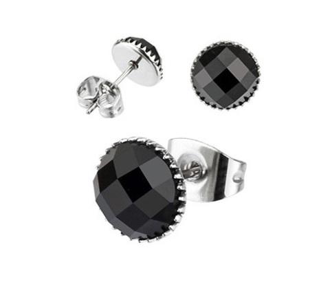 SER110-7K Мужские серьги из стали с черным камнем (7 мм),