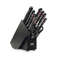 Набор ножей 6шт с ножницами, вилкой, мусатом и подставкой Wuesthof Classic черная