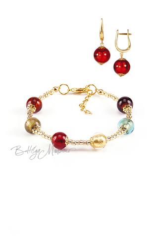 Комплект Carnavale Oro (красные серьги на серебре, браслет)