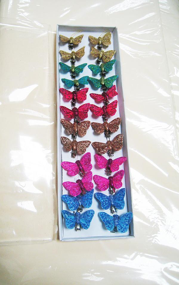 Бабочка на прищепке с глиттером 4,5 см.