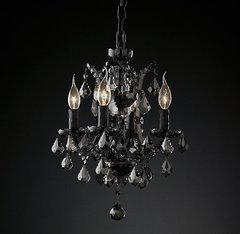 19th C. Rococo Iron & Smoke Crystal Round Chandelier 13