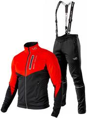 Утеплённый лыжный костюм 905 Victory Code Go Fast 2019 Red-Black с лямками мужской
