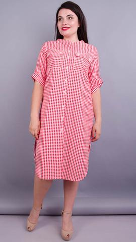 Любава. Стильна сукня-сорочка великих розмірів. Червона клітинка.