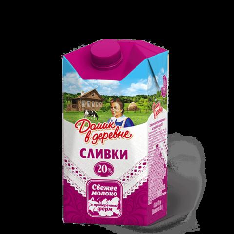 """Сливки """"Домик в деревне"""" 20%, 470 мл"""