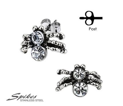 SSEM-104 Мужские серьги пауки «Тарантул» из ювелирной стали, «Spikes»