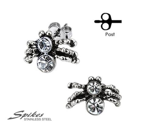SSEM-104 Мужские серьги пауки &#34Тарантул&#34 из ювелирной стали, &#34Spikes&#34