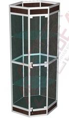 ВА-403-Д Витрина из алюминиевого профиля с подиумом угловая 2000х615х615 мм