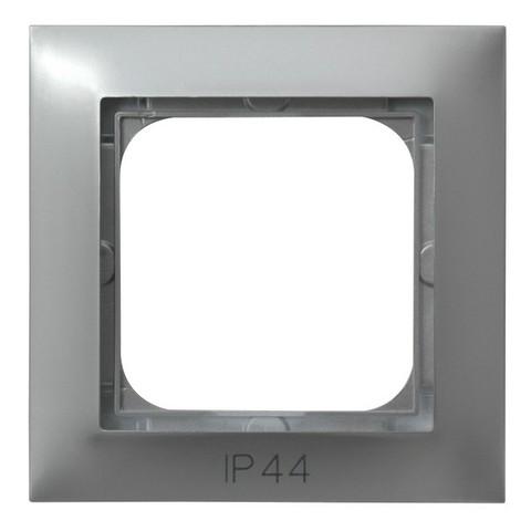 Рамка на 1 пост для выключатель IP-44. Цвет Серебро. Ospel. Impresja. RH-1Y/18