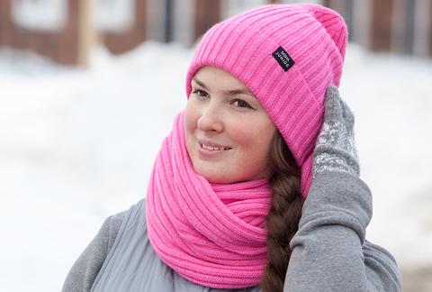 Комплект вязаный шапка снуд цвет Флокс SASHA JUNIOR