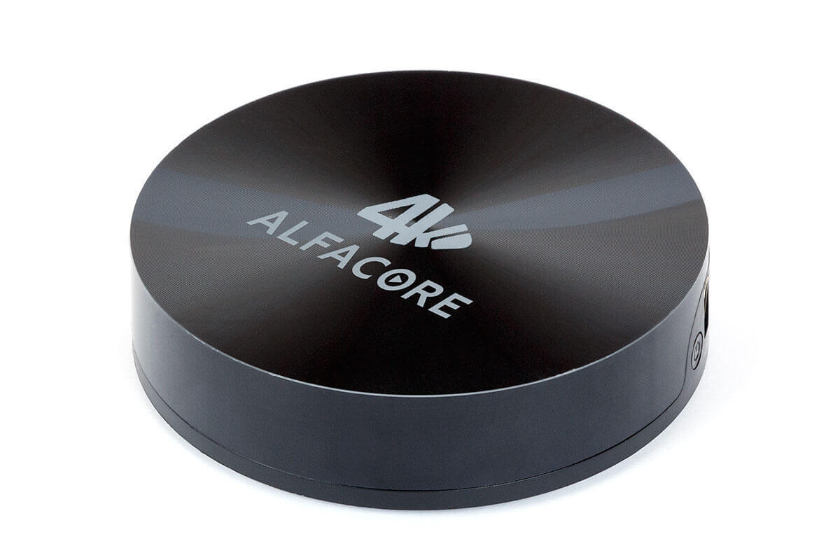 Фото андроид приставки Alfacore Smart TV Round. Android tv Box Round