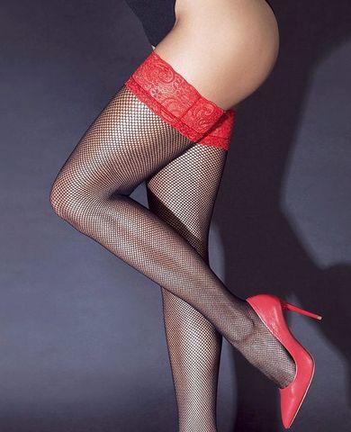 Сексуальные черные чулки в сетку с красной резинкой на силиконе
