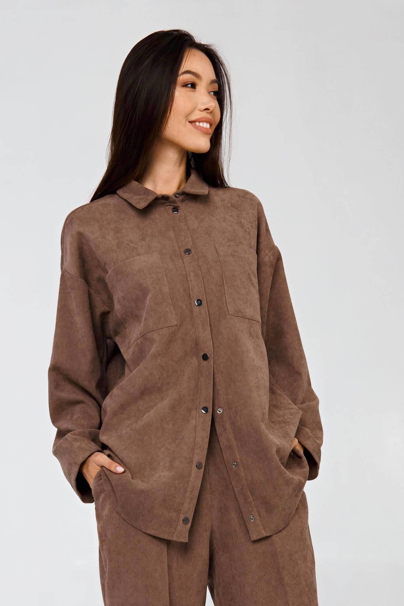 Вельветовая рубашка в рубчик капучино YOS