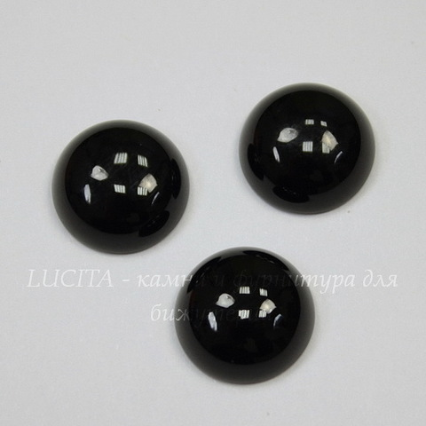 Кабошон круглый Агат Черный (тониров), 12 мм