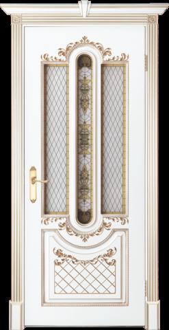 Дверь Prestigio Реале-2, стекло матовое фотопечать, цвет  белый/патина золото, остекленная