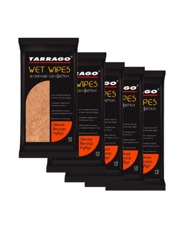 Набор влажных салфеток для замши, нубук и велюр TWN12 Tarrago  (5 упаковок)
