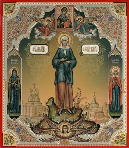 Икона святая Ксения Петербургская со святыми на дереве на левкасе мастерская Иконный Дом