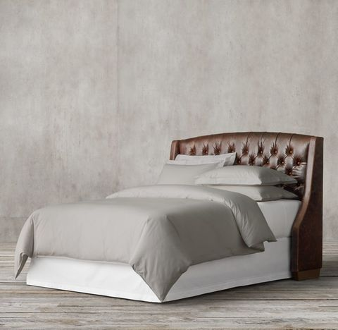Warner Tufted Leather Headboard With Nailheads