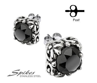 SSEM-109 Крупные мужские серьги из ювелирной стали с черным камнем, «Spikes»