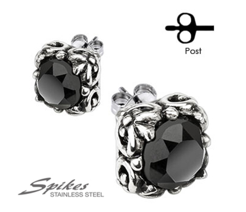 SSEM-109 Крупные мужские серьги из ювелирной стали с черным камнем,