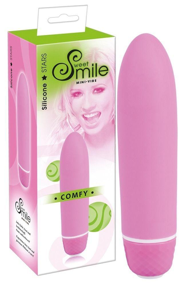 Классические: Розовый вибратор Smile Mini Comfy - 13 см.
