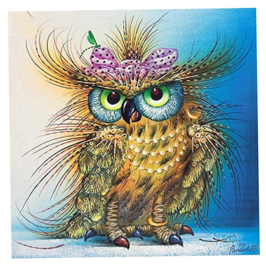 Сыну, открытки совы с цветами