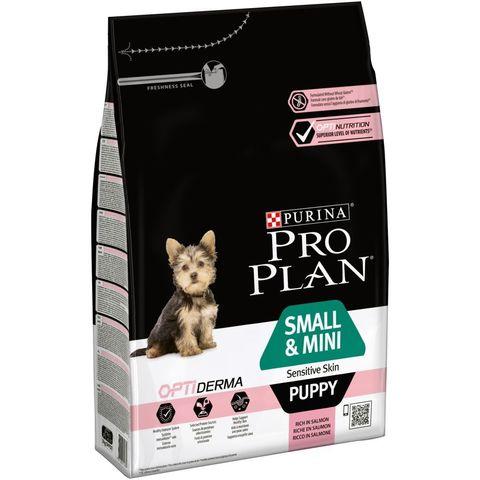 Pro Plan сухой корм для щенков мелких и карликовых пород с чувствительной кожей лосось 3кг