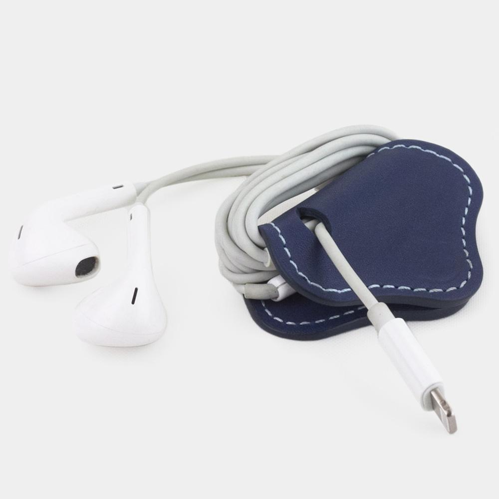 Чехол-держатель для наушников Chapeau Easy из натуральной кожи теленка, синего цвета