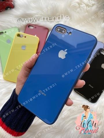 Чехол iPhone 7/8 Plus Glass Pastel color Logo /blue/