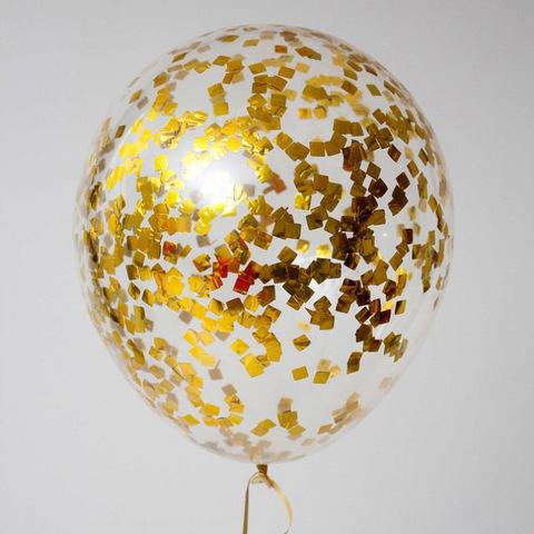 Шары с конфетти золото квадратик