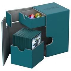 Ultimate Guard - Кожаная серо-голубая коробочка с отделением для кубиков на 100+ карт