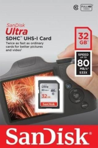 SDHC карта памяти SanDisk 32GB Class10 UHS-I Ultra 80Mb/s