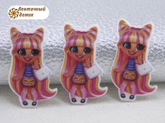 (9)Пластиковый кабошон Hairdorables Кет с ушками (пакет 20 шт)