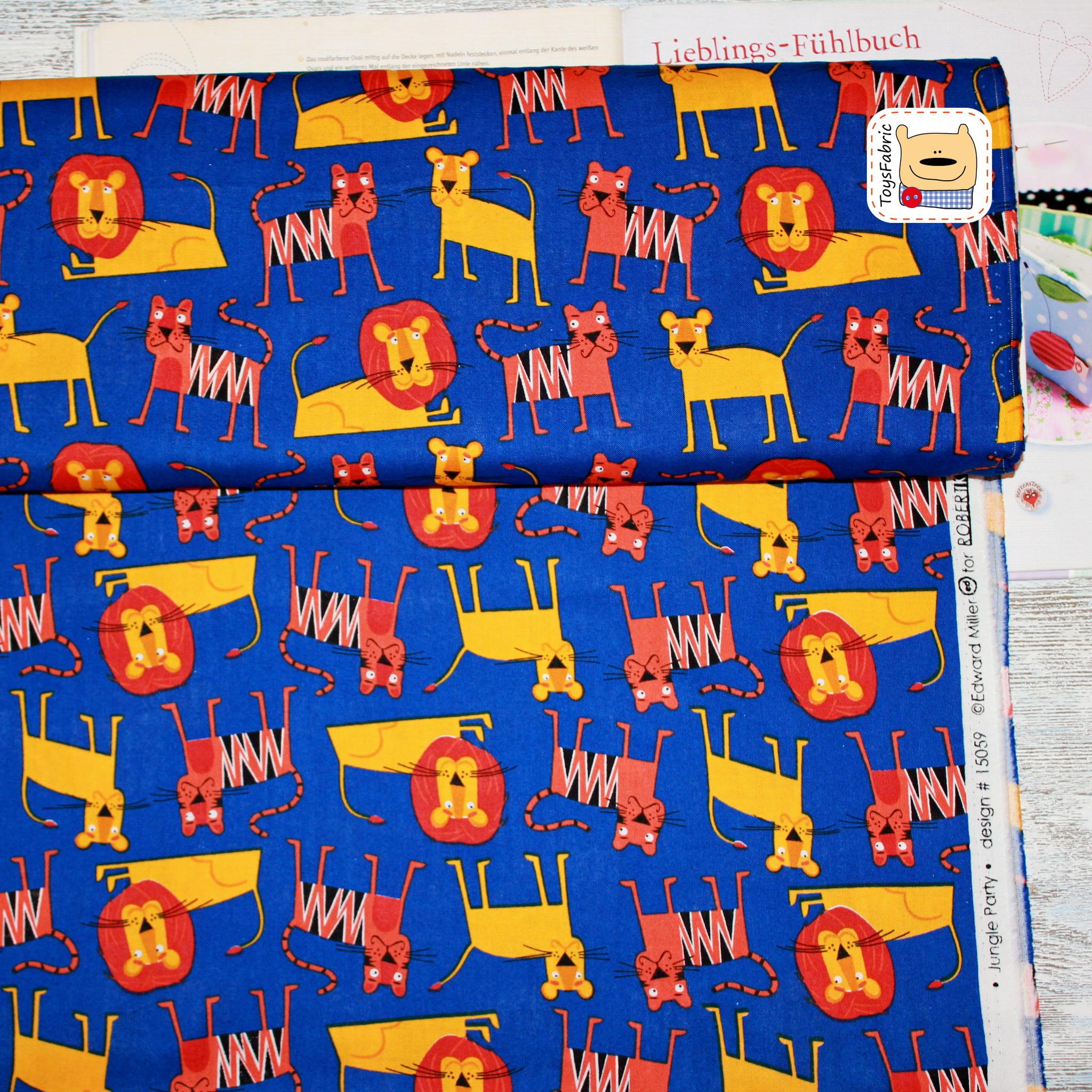 Ткань для пэчворка  20522 (львы и тигры) 45х55см