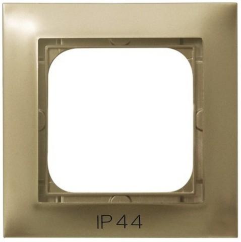 Рамка на 1 пост для выключатель IP-44. Цвет Золотой металлик. Ospel. Impresja. RH-1Y/28
