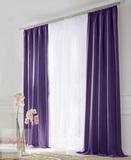 Комплект штор блэкаут (фиолетовый) и вуаль (белый).