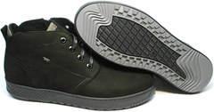 Мужские ботинки из нубука зимние черные Ikoc 1617-1 WBN.