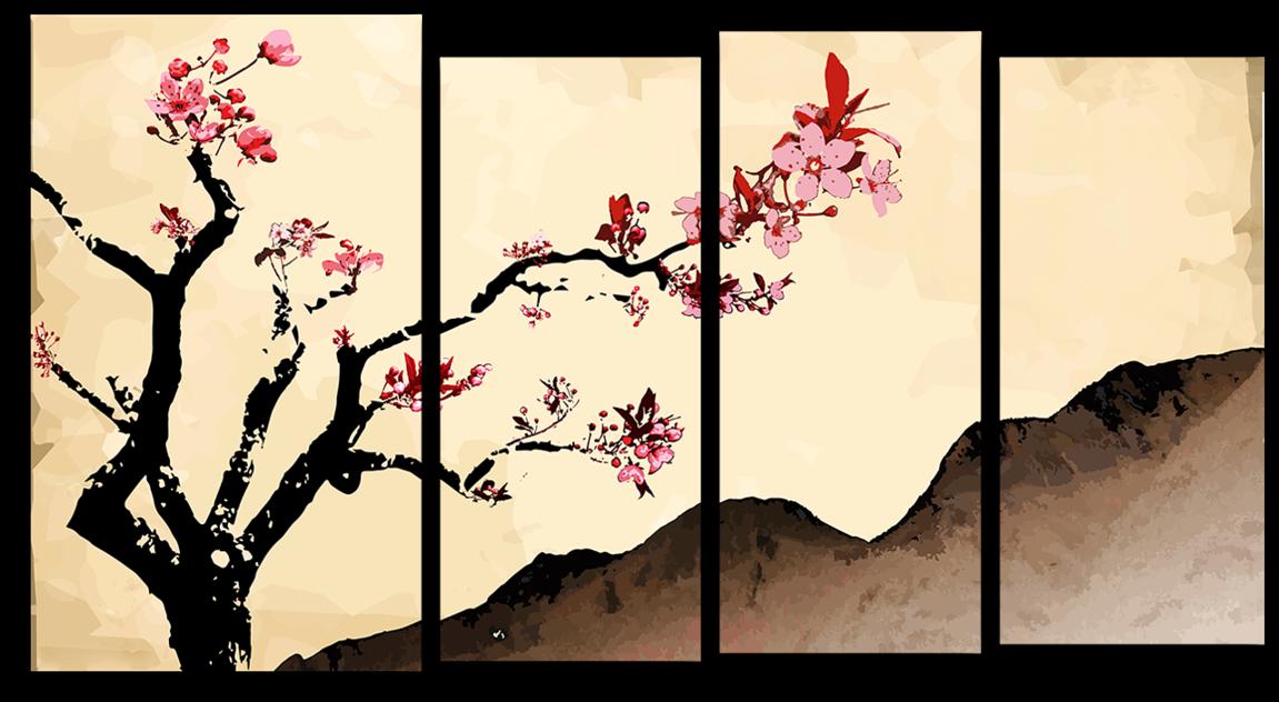"""Модульная картина """"Цветущая сакура"""" – купить по низкой ...  Цветущая Сакура Png"""
