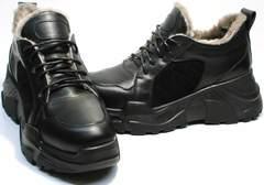 Чисто черные кроссовки на большой подошве женские зимние Studio27 547c All Black.