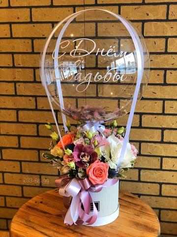 Розы в коробочке и шар bubble #280658