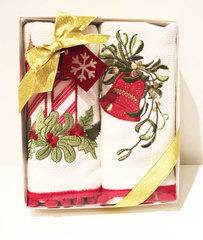 Набор махровых салфеток Новый год RED CANDY 2пр 40х60  Tivolyo Home Турция