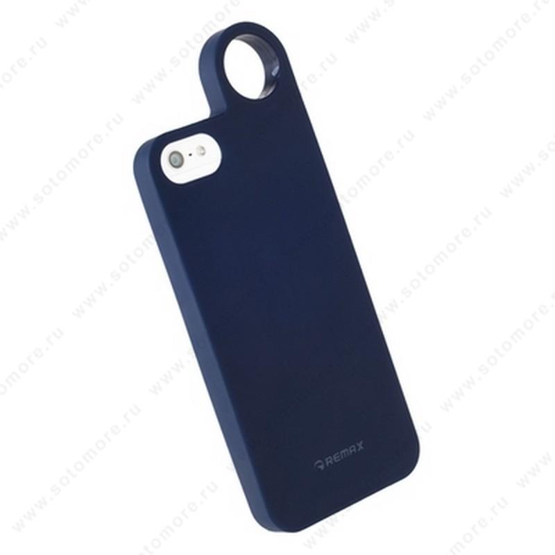 Накладка REMAX для iPhone SE/ 5s/ 5C/ 5 с кольцом темно-синяя