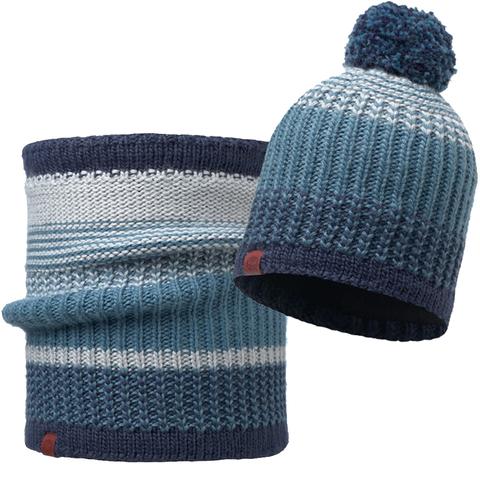 Комплект шапка шарф вязаный с флисом Buff Borae Mazarine Blue 1