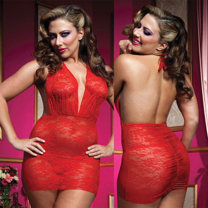 БОЛЬШИЕ размеры: Роскошное мини-платье из кружева с трусиками-стринг