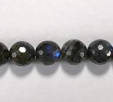 Бусина из лабрадора (спектролита), фигурная, 12 мм (шар, граненая)